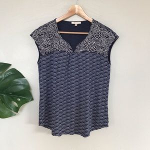 Skies are Blue Navy Embroidered Cap Sleeve Top